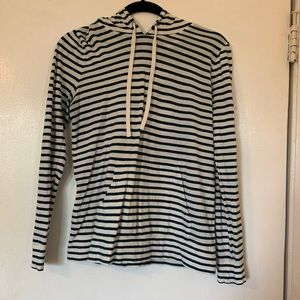 Jcrew turquoise and white striped shirt with hood